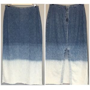 Newport News Denim Maxi Skirt Size 10 Frayed Hem
